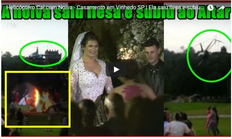 VIDEO. Novia se estrella en helicóptero en Brasil, sobrevive al accidente y acude a su boda