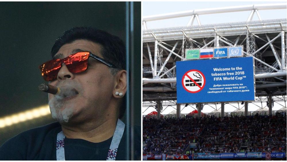 Maradona repudiado por fumar tabaco en el estadio. Se disculpo