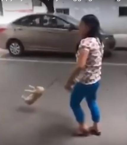 'VIDEO' Mujer literalmente arrastra a su mascota y el vídeo es subido causando indignación en las redes