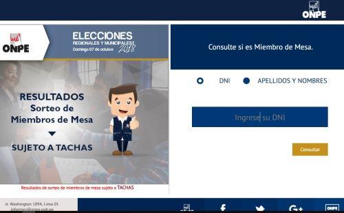 Perú. Conoce si fuiste seleccionado como Miembro de mesa para las elecciones 2018
