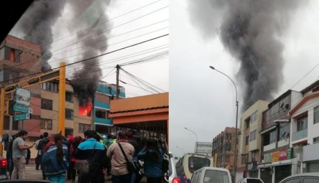 Perú: Fuerte incendio en San Borja necesita 9 unidades de bomberos para ser controlado