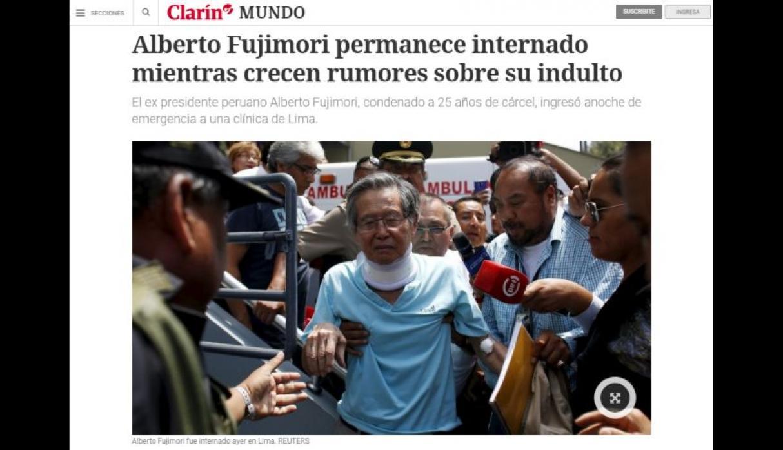 Perú: Alberto Fujimori  lleva más de un mes internado en una clínica y será evaluada su salud