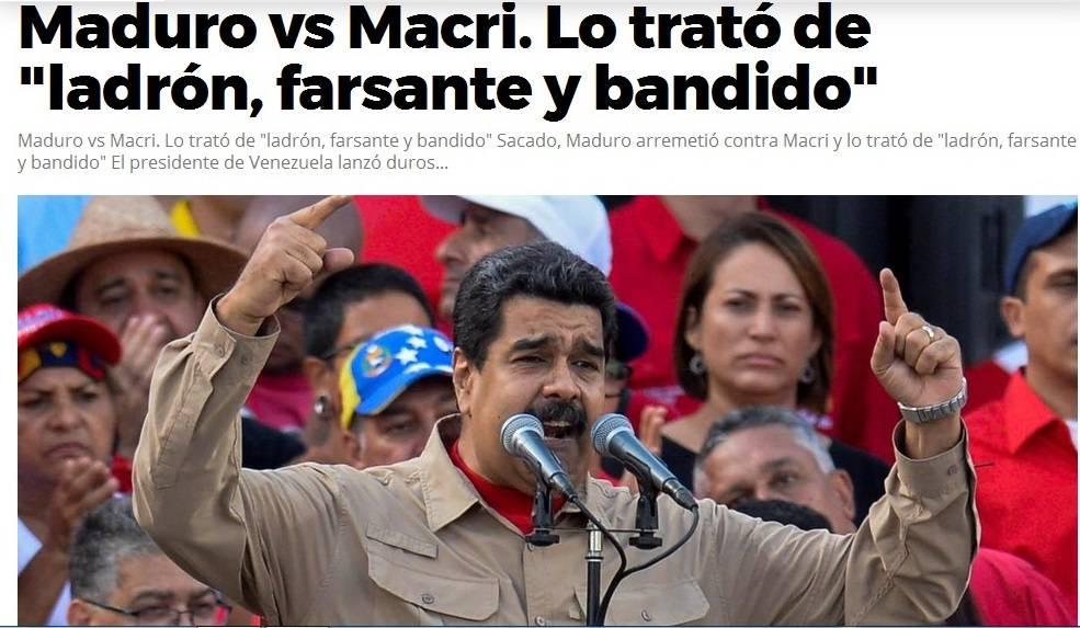 Maduro critica a Macri y lo llama destructor de la Argentina